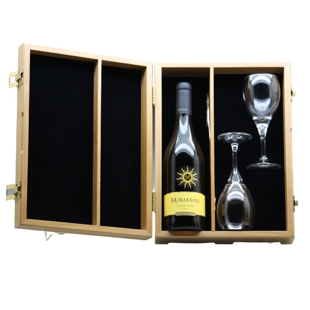 Wine Bottle and Two Glasses Box